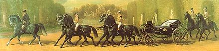 Caleche drawn by four Horses à la Daumont in the park of Schönbrunn