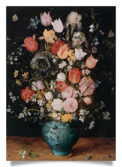 Flowers in a Blue Vessel