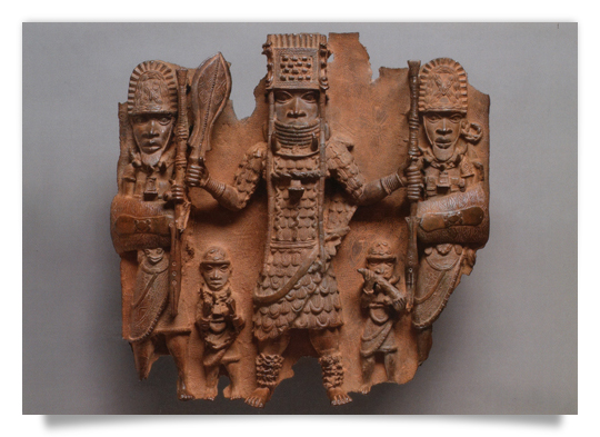Relief Plaque Oba Ozolua with four Retainers